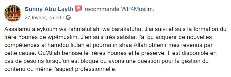 Avis Clients - WP4Muslim